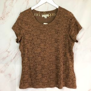 NWT coldwater creek brown cap sleeve lace top 1XL